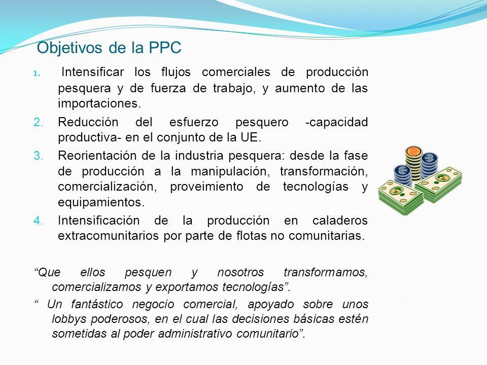 Objetivos de la PPC 1. Intensificar los flujos comerciales de producción pesquera y de fuerza de trabajo, y aumento de las importaciones. 2. Reducción