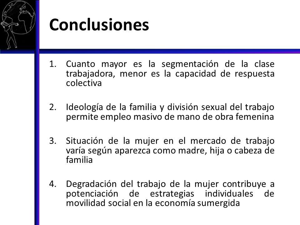 Conclusiones 1.Cuanto mayor es la segmentación de la clase trabajadora, menor es la capacidad de respuesta colectiva 2.Ideología de la familia y divis