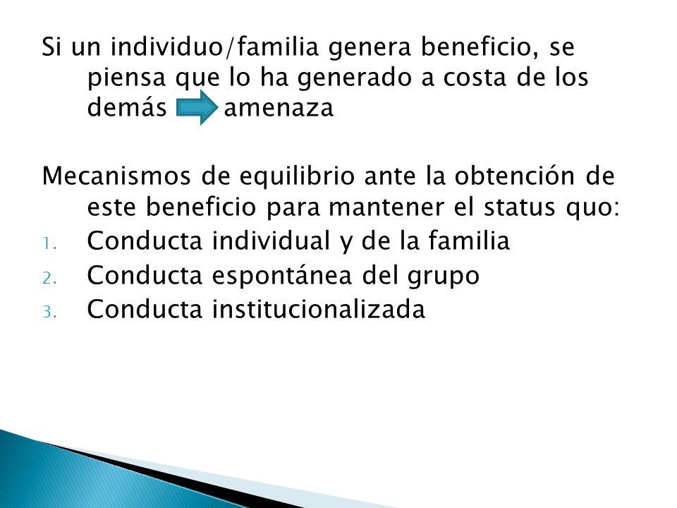 Si un individuo/familia genera beneficio, se piensa que lo ha generado a costa de los demás amenaza Mecanismos de equilibrio ante la obtención de este