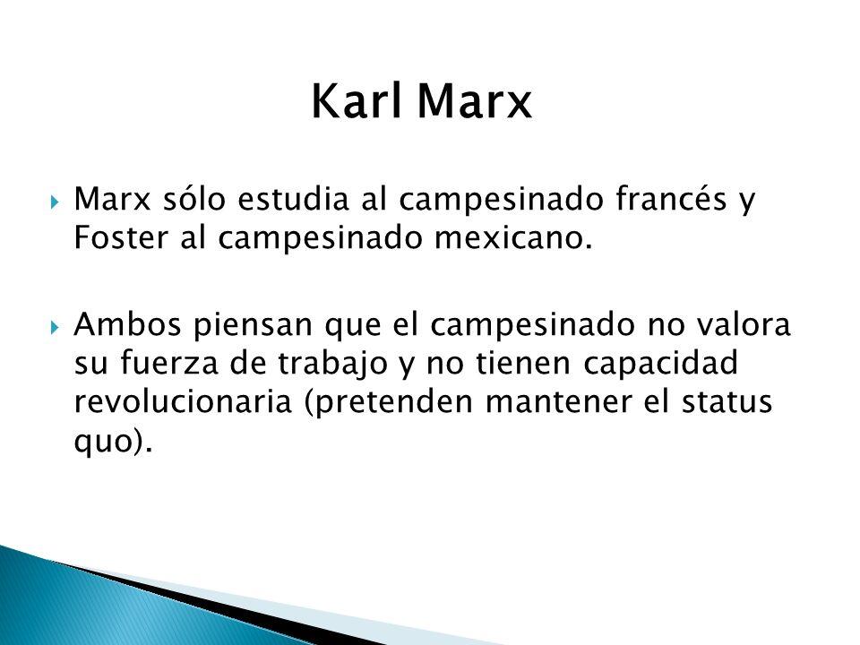 Karl Marx Marx sólo estudia al campesinado francés y Foster al campesinado mexicano. Ambos piensan que el campesinado no valora su fuerza de trabajo y