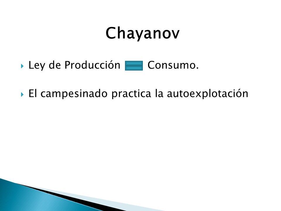 Chayanov Ley de Producción Consumo. El campesinado practica la autoexplotación