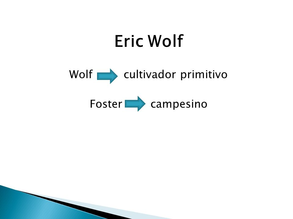 Eric Wolf Wolf cultivador primitivo Foster campesino