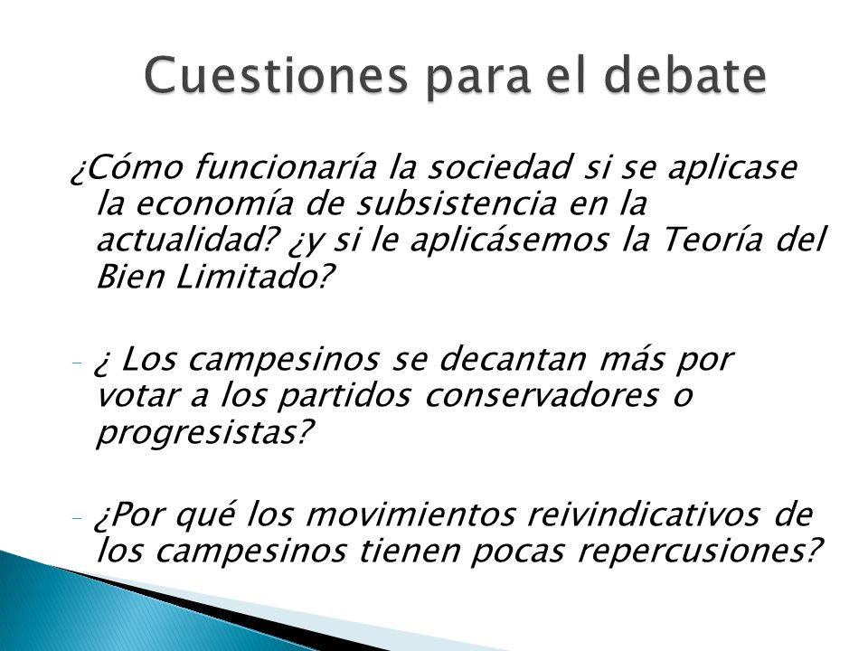 Cuestiones para el debate ¿ Cómo funcionaría la sociedad si se aplicase la economía de subsistencia en la actualidad? ¿y si le aplicásemos la Teoría d