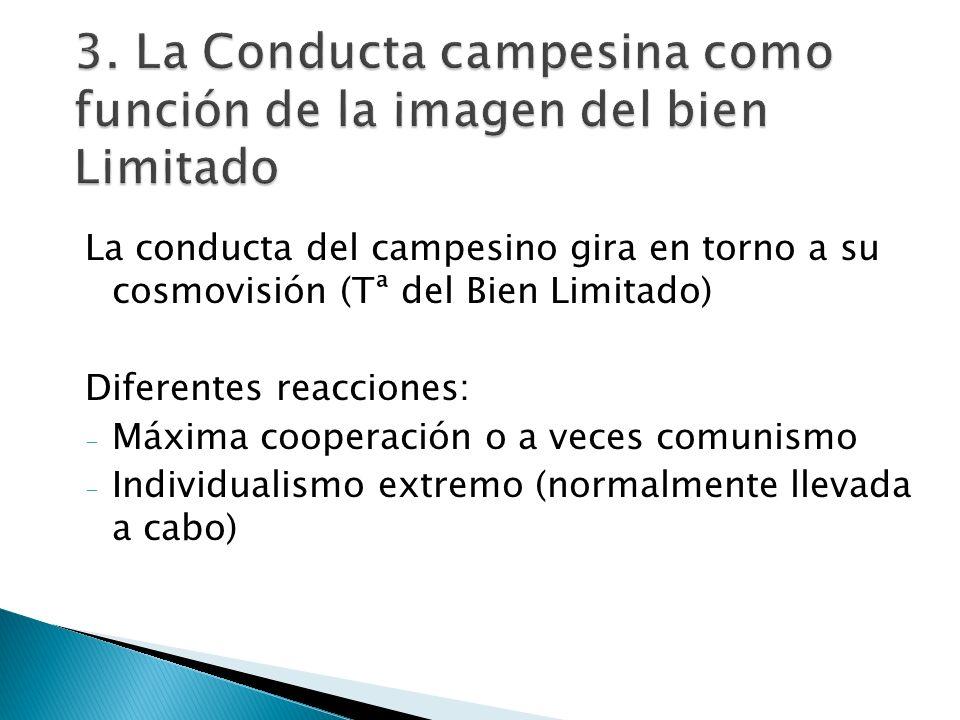 3. La Conducta campesina como función de la imagen del bien Limitado La conducta del campesino gira en torno a su cosmovisión (Tª del Bien Limitado) D