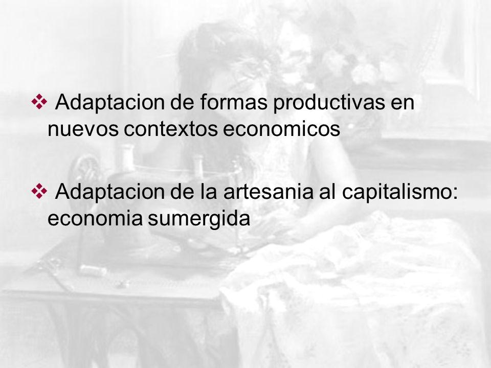 Adaptacion de formas productivas en nuevos contextos economicos Adaptacion de la artesania al capitalismo: economia sumergida