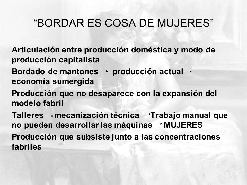 BORDAR ES COSA DE MUJERES Articulación entre producción doméstica y modo de producción capitalista Bordado de mantones producción actual economía sume