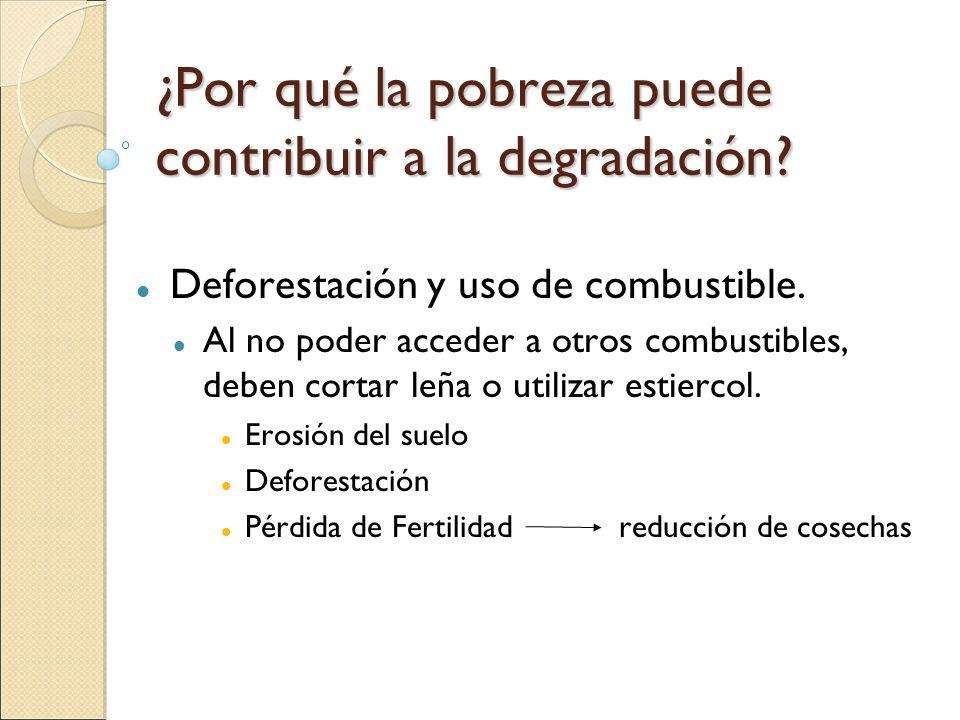 ¿Por qué la pobreza puede contribuir a la degradación? Deforestación y uso de combustible. Al no poder acceder a otros combustibles, deben cortar leña