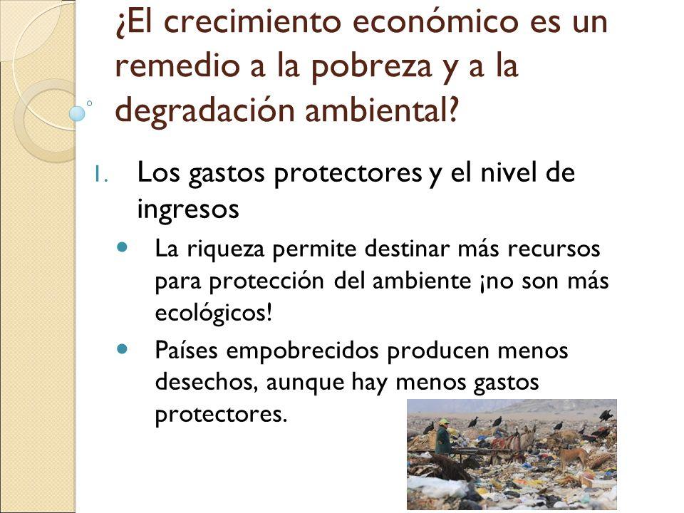 ¿El crecimiento económico es un remedio a la pobreza y a la degradación ambiental? 1. Los gastos protectores y el nivel de ingresos La riqueza permite