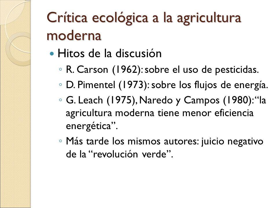 Crítica ecológica a la agricultura moderna Hitos de la discusión R. Carson (1962): sobre el uso de pesticidas. D. Pimentel (1973): sobre los flujos de