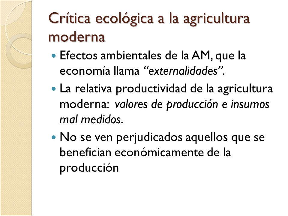 Crítica ecológica a la agricultura moderna Efectos ambientales de la AM, que la economía llama externalidades. La relativa productividad de la agricul