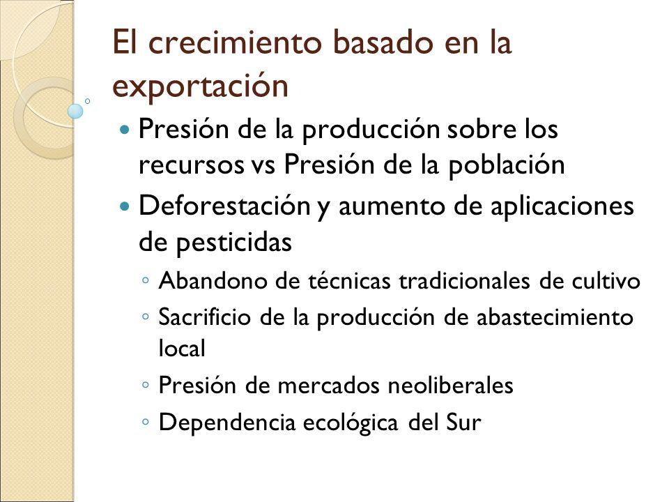 El crecimiento basado en la exportación Presión de la producción sobre los recursos vs Presión de la población Deforestación y aumento de aplicaciones