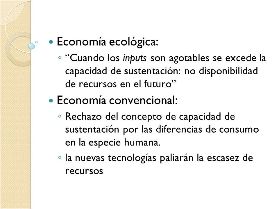 Economía ecológica: Cuando los inputs son agotables se excede la capacidad de sustentación: no disponibilidad de recursos en el futuro Economía conven