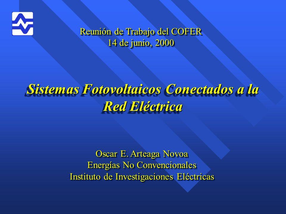 Principales Programas e Iniciativas n Alemania –Programa 100,000 Techos Fotovoltaicos, 1999 –45,000 kWp conectados a la red a finales de 1998.