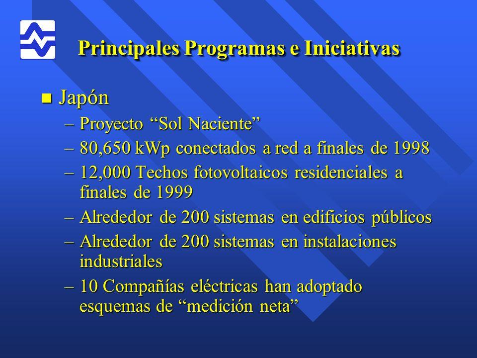 Principales Programas e Iniciativas n Japón –Proyecto Sol Naciente –80,650 kWp conectados a red a finales de 1998 –12,000 Techos fotovoltaicos residen