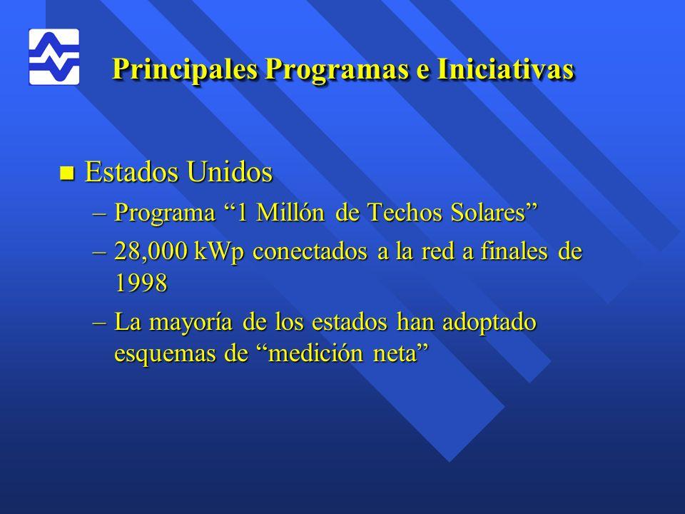 Principales Programas e Iniciativas n Estados Unidos –Programa 1 Millón de Techos Solares –28,000 kWp conectados a la red a finales de 1998 –La mayorí