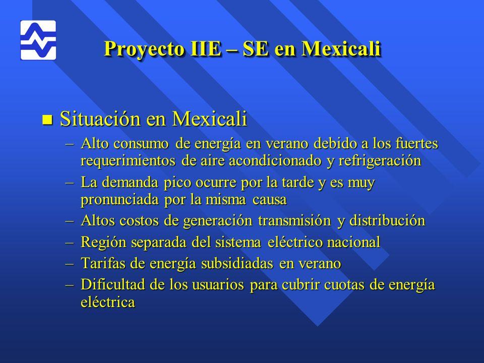 Proyecto IIE – SE en Mexicali n Situación en Mexicali –Alto consumo de energía en verano debido a los fuertes requerimientos de aire acondicionado y r
