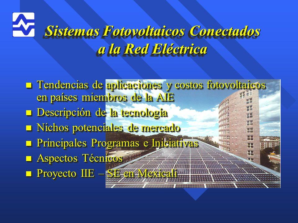 Principales Programas e Iniciativas n Estados Unidos –Programa 1 Millón de Techos Solares –28,000 kWp conectados a la red a finales de 1998 –La mayoría de los estados han adoptado esquemas de medición neta