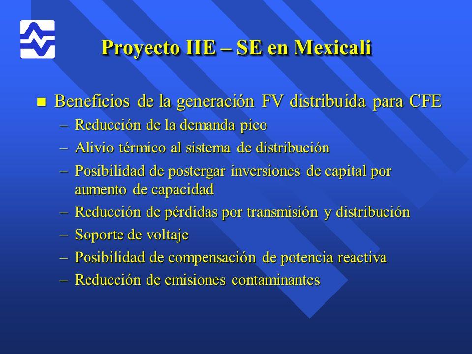 Proyecto IIE – SE en Mexicali n Beneficios de la generación FV distribuida para CFE –Reducción de la demanda pico –Alivio térmico al sistema de distri