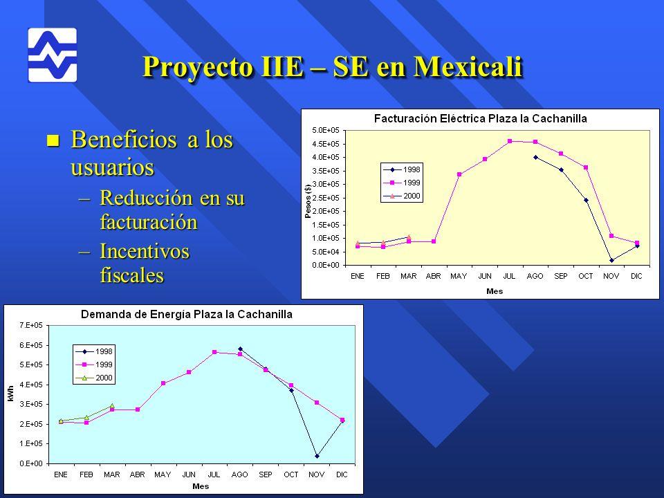 Proyecto IIE – SE en Mexicali n Beneficios a los usuarios –Reducción en su facturación –Incentivos fiscales