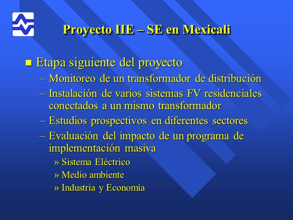 Proyecto IIE – SE en Mexicali n Etapa siguiente del proyecto –Monitoreo de un transformador de distribución –Instalación de varios sistemas FV residen