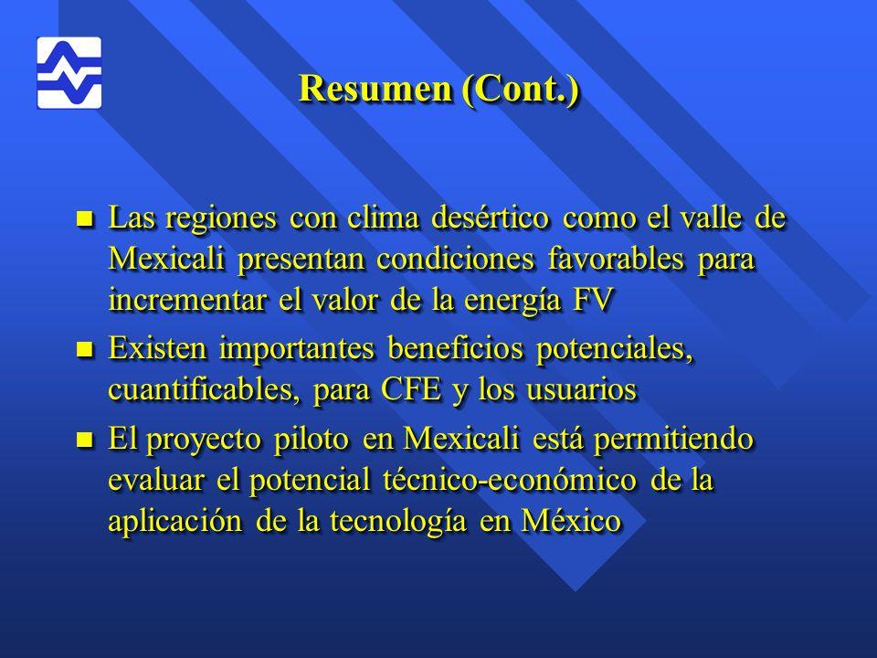 Resumen (Cont.) n Las regiones con clima desértico como el valle de Mexicali presentan condiciones favorables para incrementar el valor de la energía