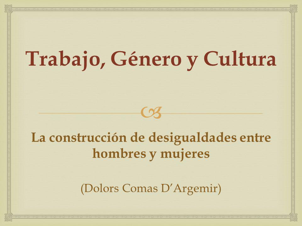 BLOQUE I DIVISIÓN DEL TRABAJO Y SISTEMAS DE GÉNERO