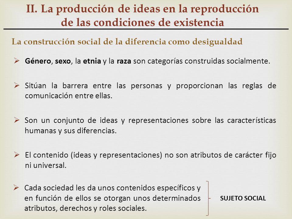 II. La producción de ideas en la reproducción de las condiciones de existencia La construcción social de la diferencia como desigualdad Género, sexo,