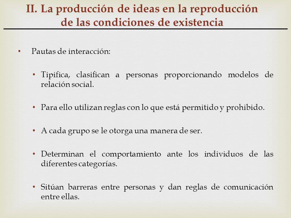 II. La producción de ideas en la reproducción de las condiciones de existencia Pautas de interacción: Tipifica, clasifican a personas proporcionando m