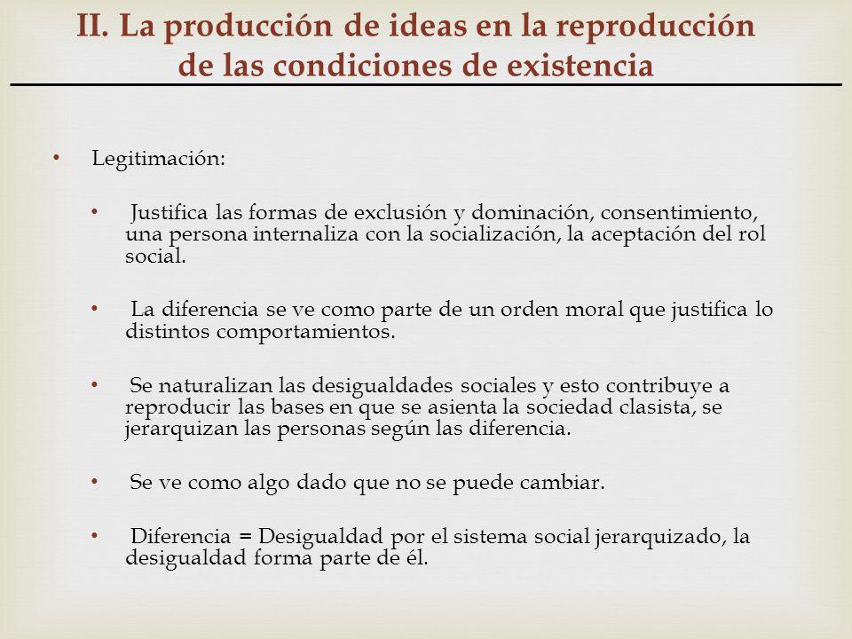 II. La producción de ideas en la reproducción de las condiciones de existencia Legitimación: Justifica las formas de exclusión y dominación, consentim