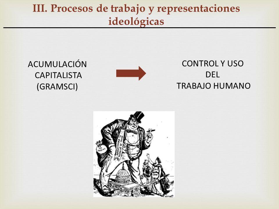 III. Procesos de trabajo y representaciones ideológicas CONTROL Y USO DEL TRABAJO HUMANO ACUMULACIÓN CAPITALISTA (GRAMSCI)