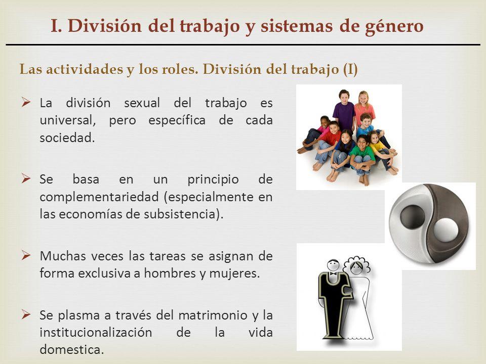 I. División del trabajo y sistemas de género Las actividades y los roles. División del trabajo (I) La división sexual del trabajo es universal, pero e