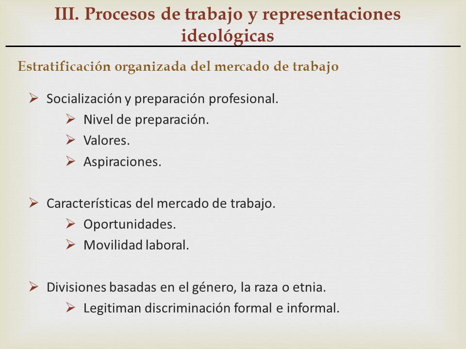 III. Procesos de trabajo y representaciones ideológicas Estratificación organizada del mercado de trabajo Socialización y preparación profesional. Niv