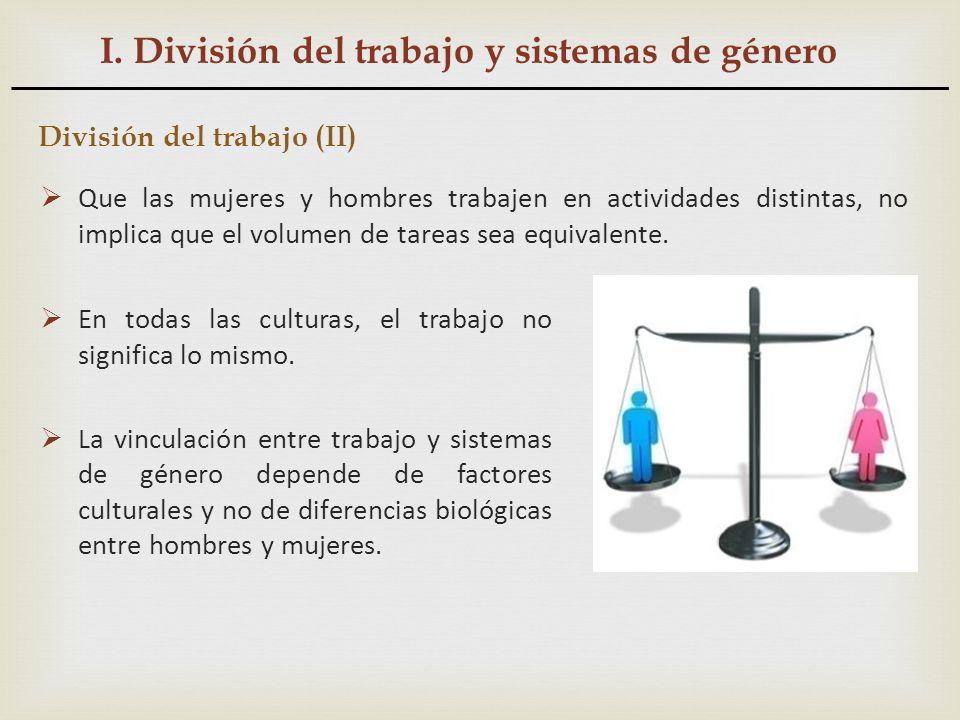 I. División del trabajo y sistemas de género División del trabajo (II) Que las mujeres y hombres trabajen en actividades distintas, no implica que el