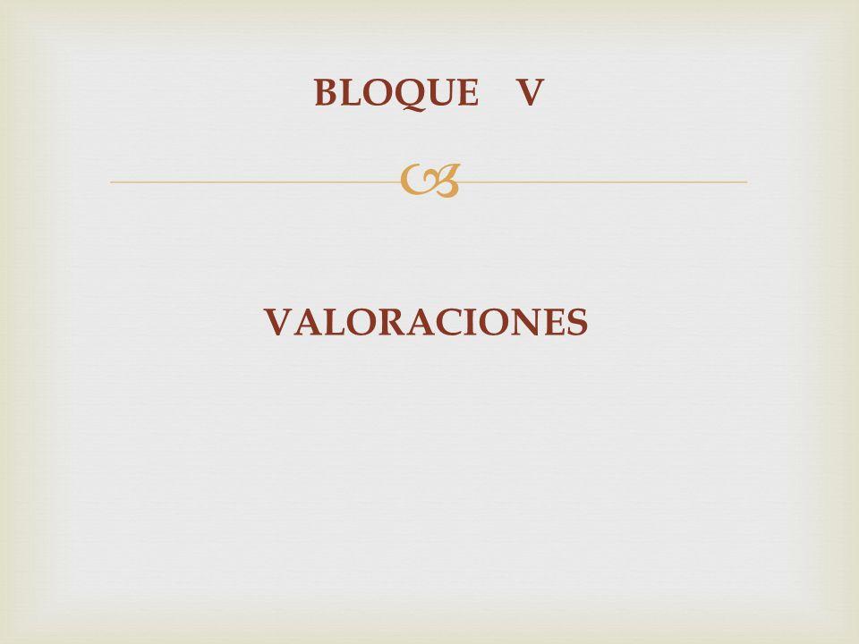 BLOQUE V VALORACIONES