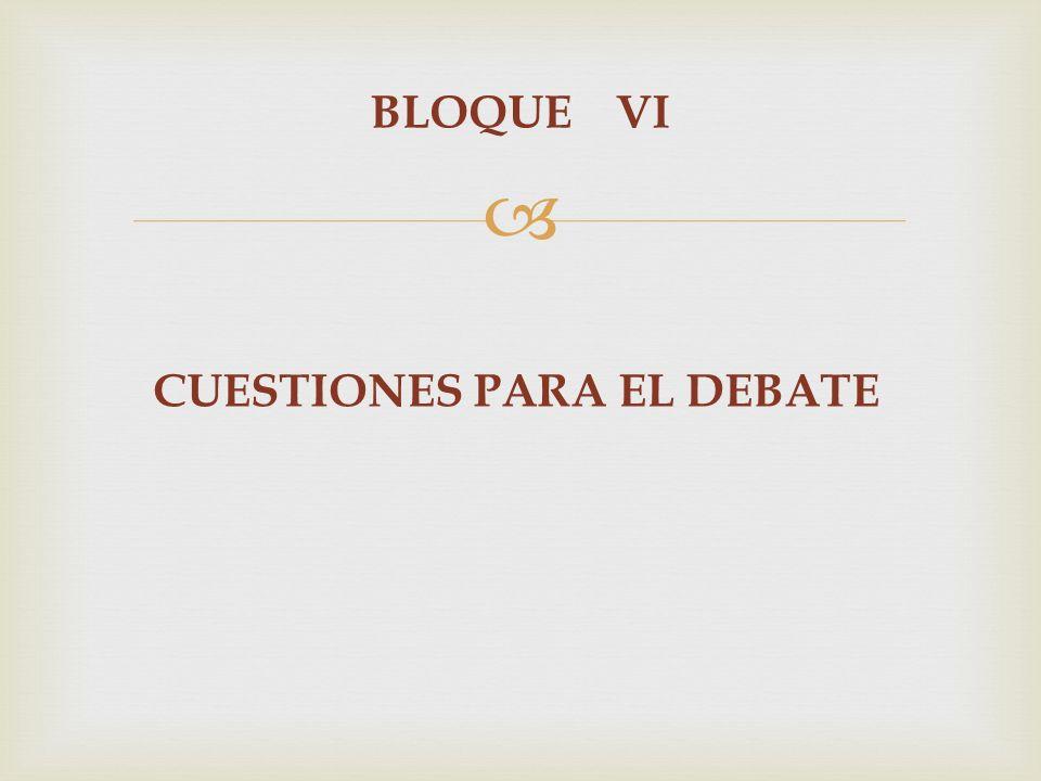 BLOQUE VI CUESTIONES PARA EL DEBATE