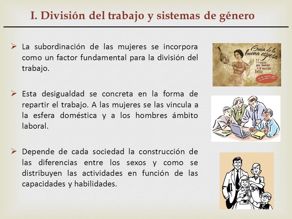 I. División del trabajo y sistemas de género La subordinación de las mujeres se incorpora como un factor fundamental para la división del trabajo. Est