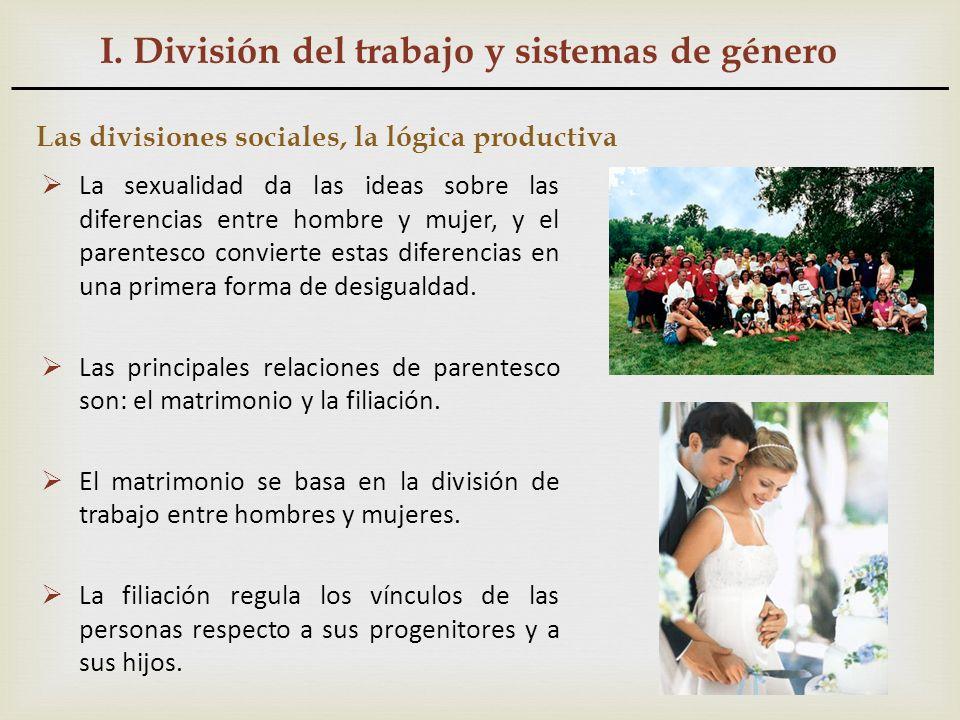 I. División del trabajo y sistemas de género Las divisiones sociales, la lógica productiva La sexualidad da las ideas sobre las diferencias entre homb