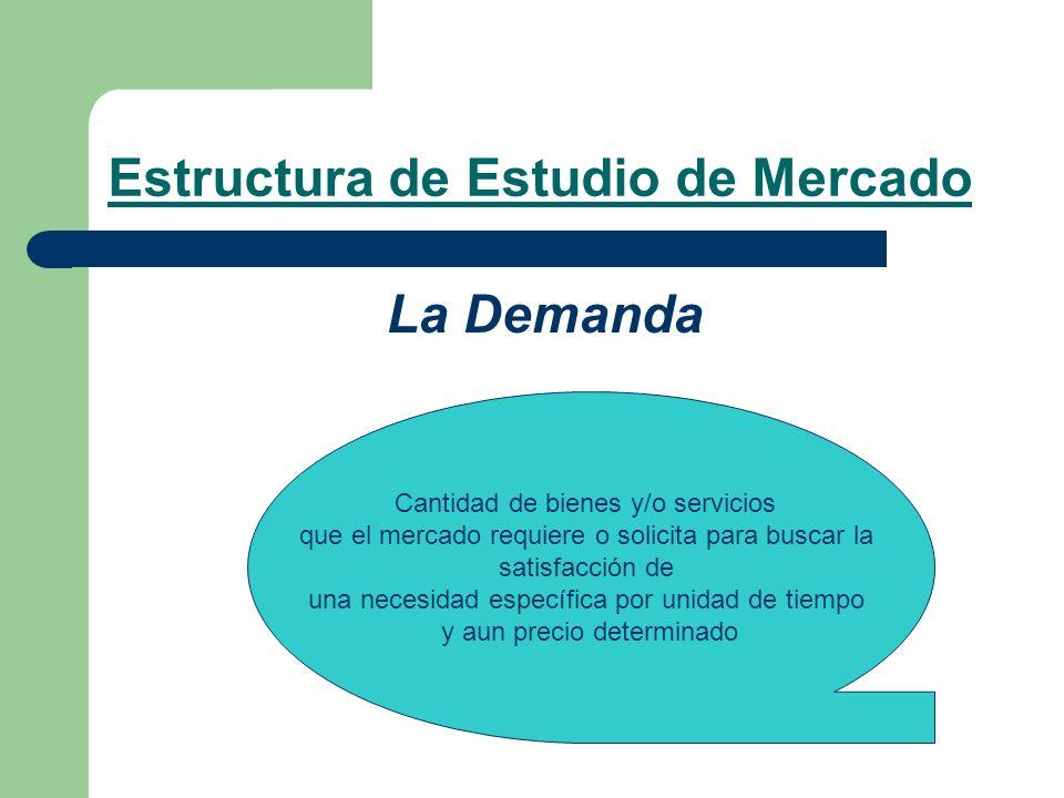 Estructura de Estudio de Mercado La Demanda Cantidad de bienes y/o servicios que el mercado requiere o solicita para buscar la satisfacción de una nec