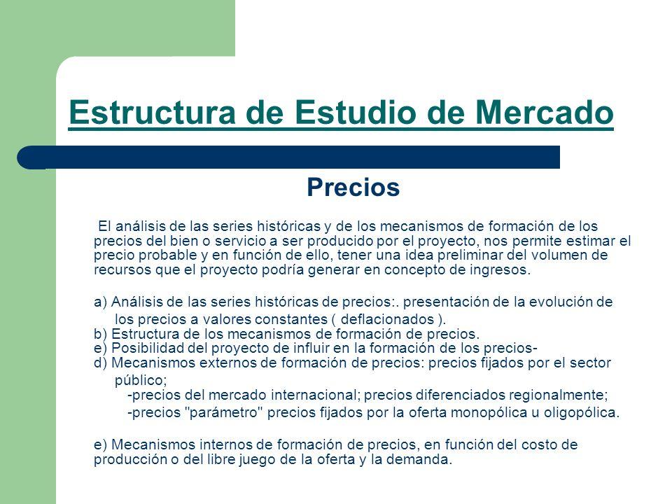 Estructura de Estudio de Mercado Precios El análisis de las series históricas y de los mecanismos de formación de los precios del bien o servicio a se