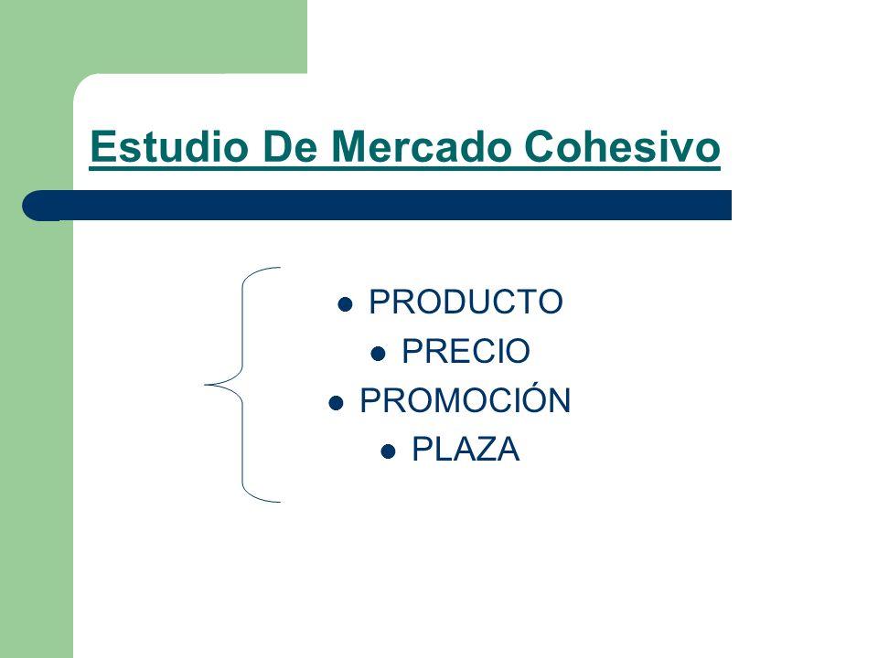 Estudio De Mercado Cohesivo PRODUCTO PRECIO PROMOCIÓN PLAZA
