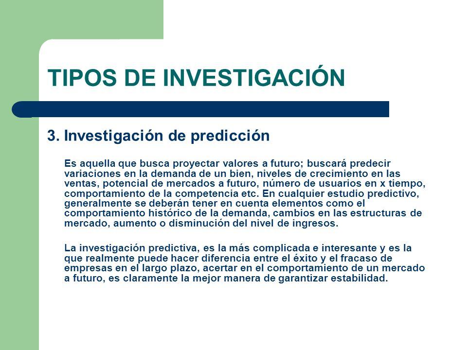 TIPOS DE INVESTIGACIÓN 3. Investigación de predicción Es aquella que busca proyectar valores a futuro; buscará predecir variaciones en la demanda de u
