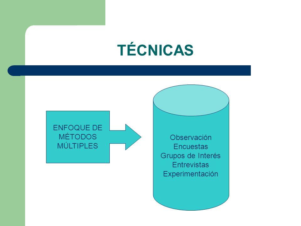TÉCNICAS ENFOQUE DE MÉTODOS MÚLTIPLES Observación Encuestas Grupos de Interés Entrevistas Experimentación