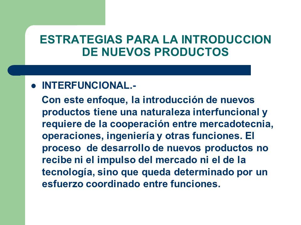 ESTRATEGIAS PARA LA INTRODUCCION DE NUEVOS PRODUCTOS INTERFUNCIONAL.- Con este enfoque, la introducción de nuevos productos tiene una naturaleza inter