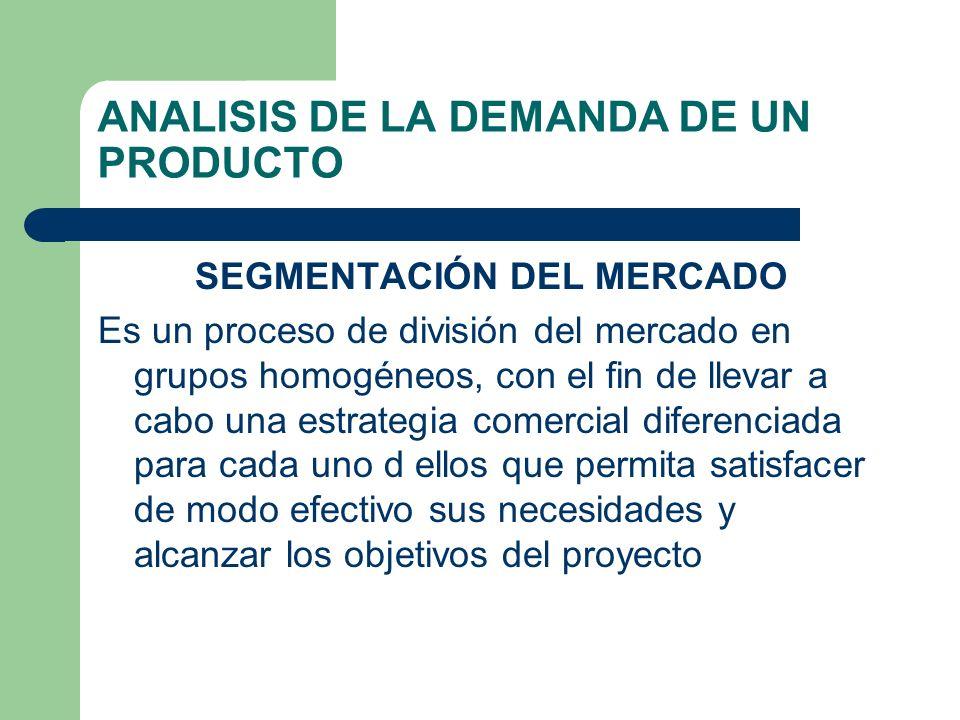 ANALISIS DE LA DEMANDA DE UN PRODUCTO SEGMENTACIÓN DEL MERCADO Es un proceso de división del mercado en grupos homogéneos, con el fin de llevar a cabo