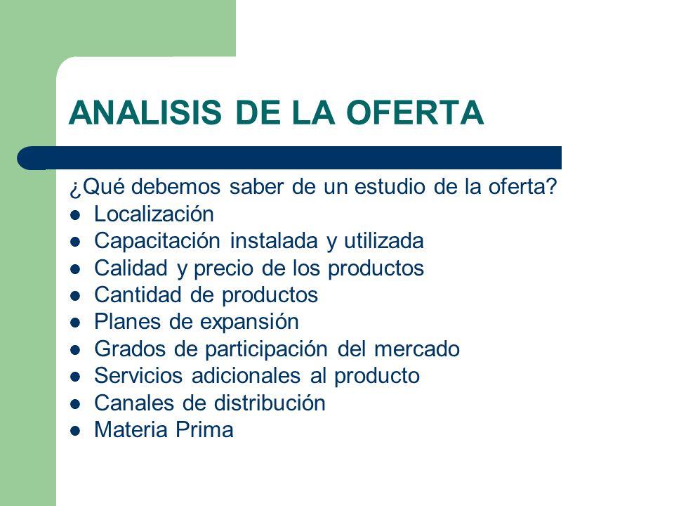 ANALISIS DE LA OFERTA ¿Qué debemos saber de un estudio de la oferta? Localización Capacitación instalada y utilizada Calidad y precio de los productos