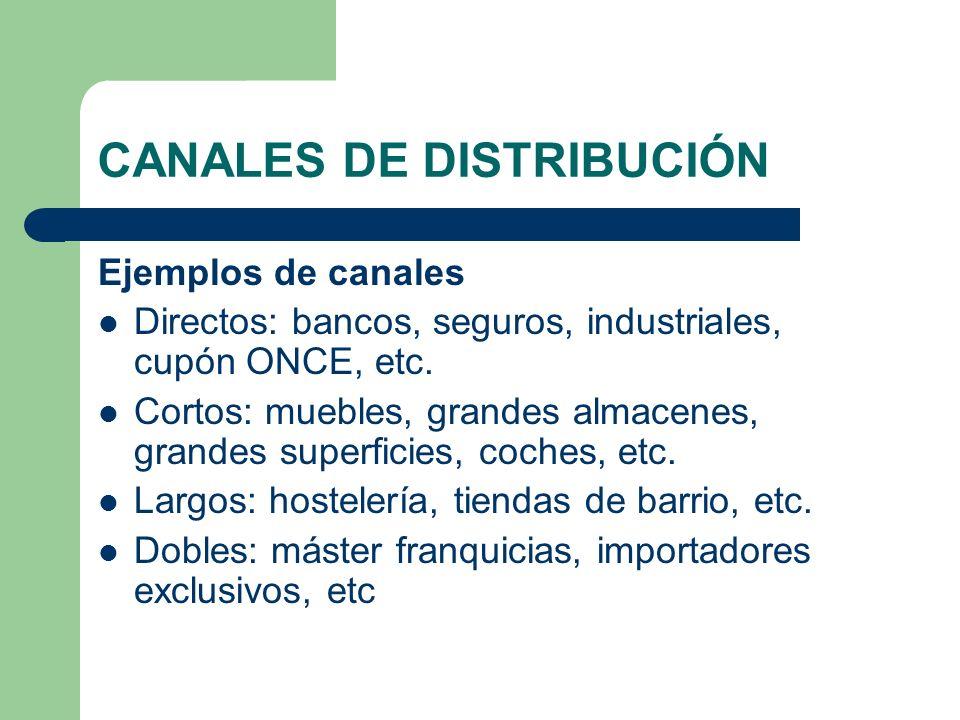 CANALES DE DISTRIBUCIÓN Ejemplos de canales Directos: bancos, seguros, industriales, cupón ONCE, etc. Cortos: muebles, grandes almacenes, grandes supe
