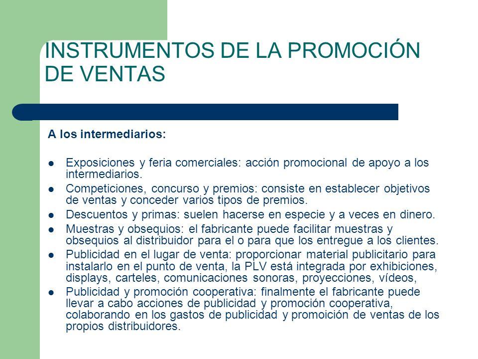 INSTRUMENTOS DE LA PROMOCIÓN DE VENTAS A los intermediarios: Exposiciones y feria comerciales: acción promocional de apoyo a los intermediarios. Compe