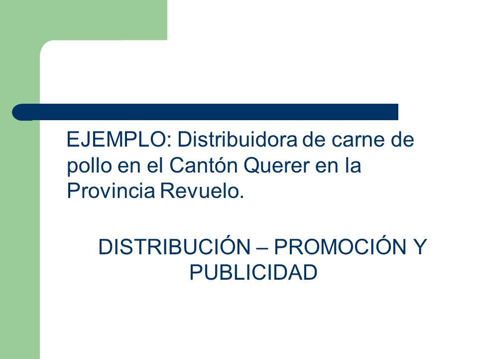 EJEMPLO: Distribuidora de carne de pollo en el Cantón Querer en la Provincia Revuelo. DISTRIBUCIÓN – PROMOCIÓN Y PUBLICIDAD