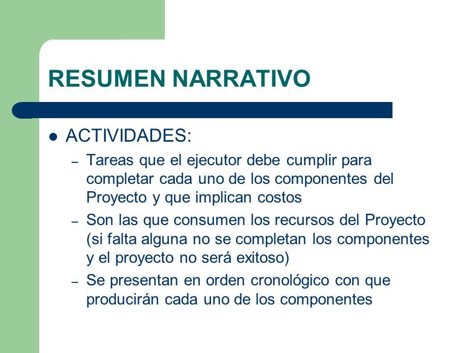 RESUMEN NARRATIVO ACTIVIDADES: – Tareas que el ejecutor debe cumplir para completar cada uno de los componentes del Proyecto y que implican costos – S