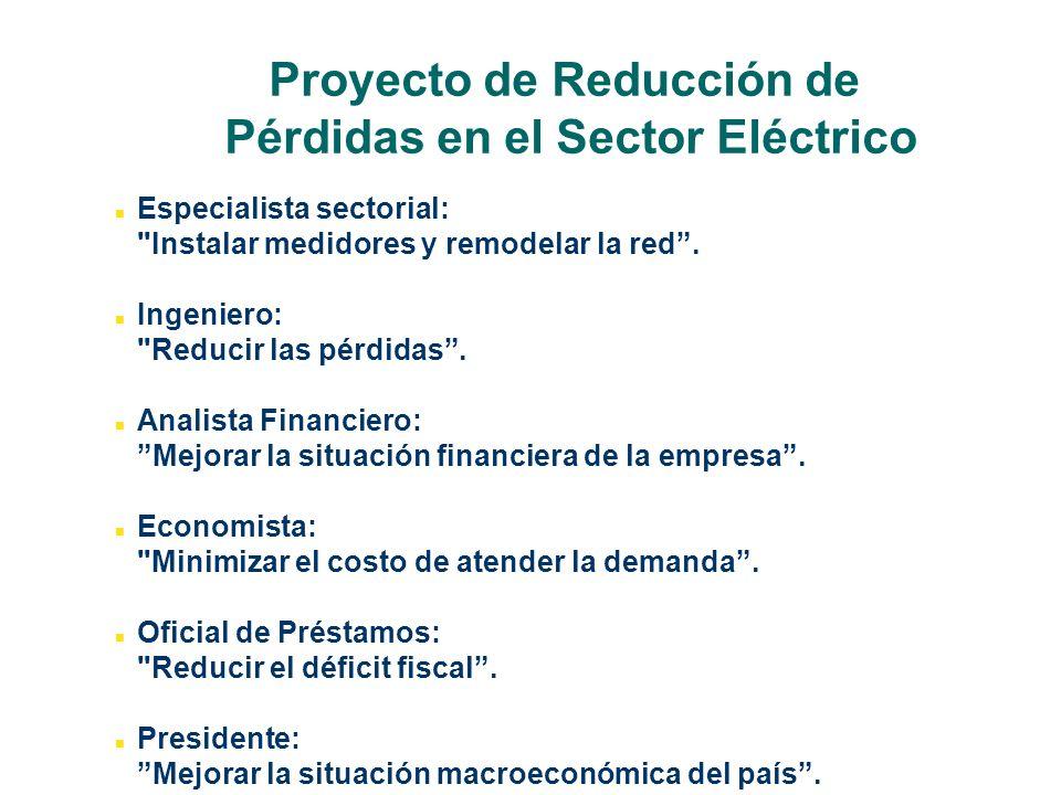 Proyecto de Reducción de Pérdidas en el Sector Eléctrico Especialista sectorial: